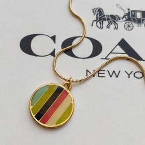 Coach Legacy Stripe Charm Gold Plated Necklace New